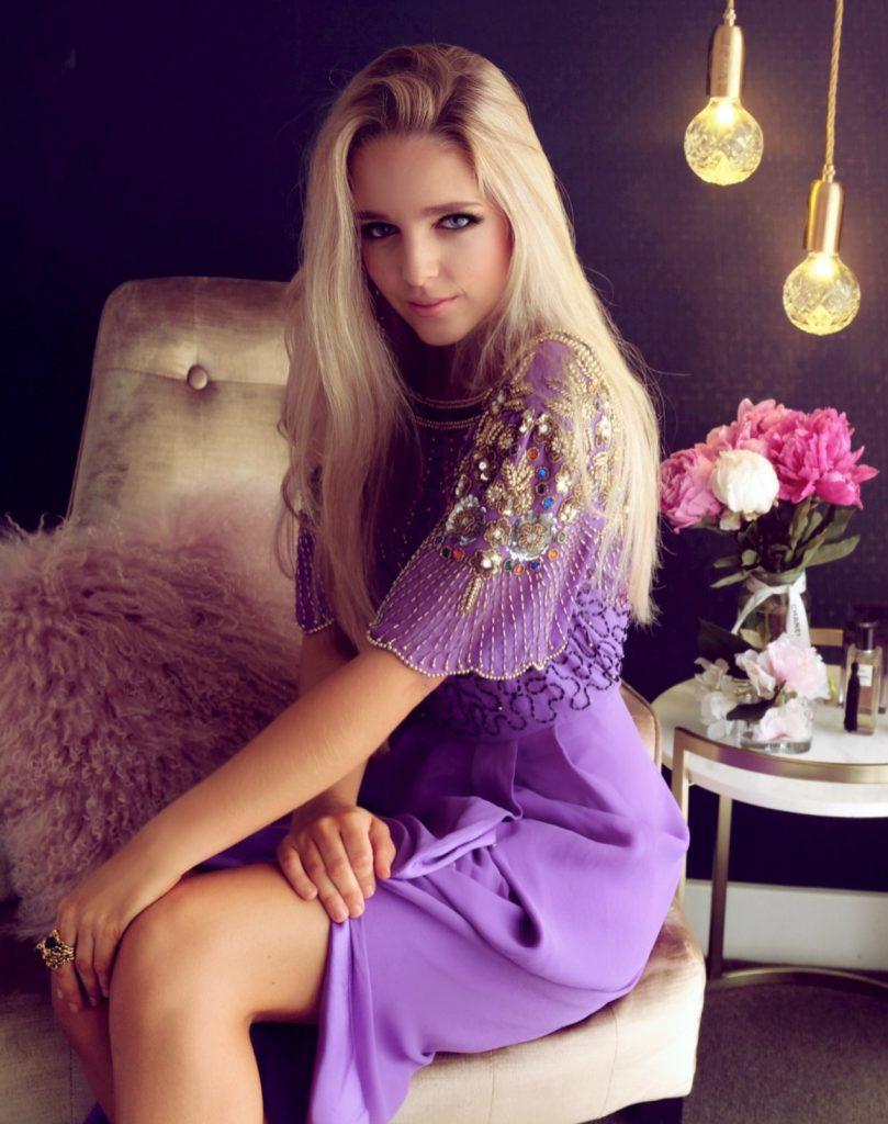 Beautiful lady in purple dress
